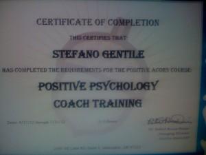 Stefano Gentile Certificate Positive Psycology Coach Training