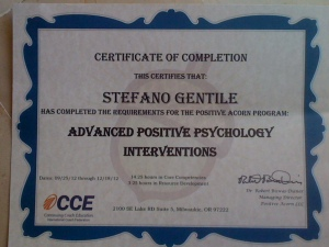 Certificate of Advance Positive Psycology Interventions