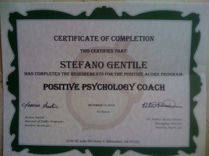 Certificate of Positive Psycology Coach Stefano Gentile